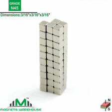 "50-count neodymium N45 NdFeb cube magnets 3/16x3/16x3/16"" (true N45)"