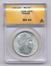 FRANCE  1938  100 FRANCS SILVER COIN, CHOICE UNCIRCULATED, ANACS CERTIFIED MS-64