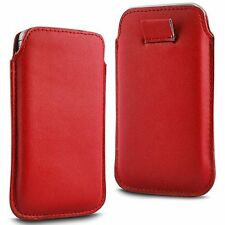 For HTC Windows Phone 8S - Red PU Leather Pull Tab Case Cover Pouch