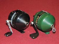 Lot of 2 Nice Zebco 202 Spincast Reels, Black Junior Field Tester & Green/Gold