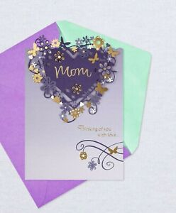 Happy Mother's Day Mom Purple & Gold Floral Heart Theme Hallmark Greeting Card