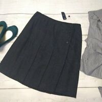 NWT Brooks Brothers 346 Pleated Wool Wrap Skirt Sz 12 Charcoal Gray