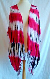 Vibrant Tie Dye Kaftan Kimono Beach Sarong Jacket Cover Up Boho Hippy