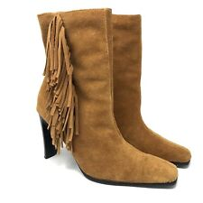 Predictions Leather Collection Womens 8.5 Fringe Side Zip Suede Boots High Heel