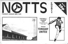 Football Programme>NOTTS COUNTY v TORQUAY UNITED Aug 1979 FLC