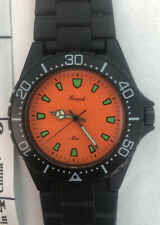 Vintage Japan Finest Mec Dive Diver Scuba wind up watch Clean & Clear Orange (LT