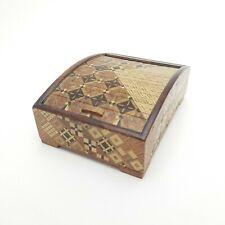 Vintage Yosegi Zaiku Marquetry Cigarette Box Geometric Veneer Tambour Japan Wood