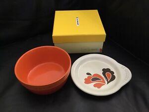 Le Creuset Stoneware Plate On Dish (Orange Peacock) ~~ NIB!