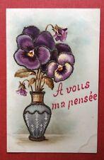 CPA. Pensées. Vase. Ajoutis Paillettes. Années 1900.