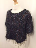 Topshop Jumper UK 10 Cropped Mohair Blend Hairy Short Sleeve Knit Black Pink