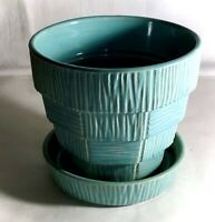 "McCoy Turqouise 5"" Flower Pot And Saucer"