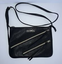 Kenneth Cole Reaction Black Faux Leather Crossbody Bag Double Zipper Size Small