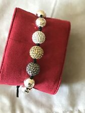 Tai Crystal Ball Bracelet Tricolor Adjustable Hammered Silver Ball