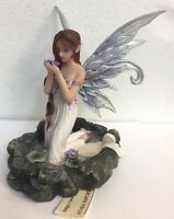 White Water Fairy Holding Violet Lily Figurine Statue Faery Collection Mystical