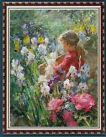 Hand painted Original Oil Painting art Impressionism girl flower on canvas