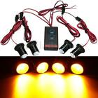 4x 1W LED Car Strobe Amber Flash Warning Light Security Bulbs Remote Control Kit