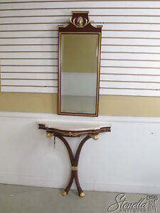 34947/34926: Plume Carved Mahogany Marble Top Hall Entry Table w Mirror ~ New