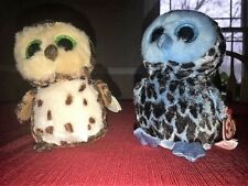 Ty Beanie Boos Yago Blue and Sammy Brown Owls Lot of 2 Nwt
