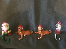 Set of 4 Vintage Plastic Stocking Holders Dog Mouse Santa