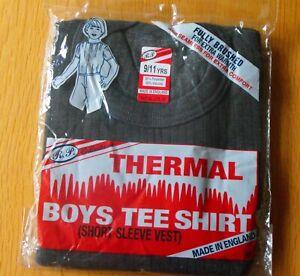 Children's Boys/Girls Thermal T-Shirt Grey Base Layer Vest 3-5, 6-8, 9-11 years