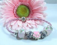 European Style Pink Leather Murano Glass Beads - Paw Bracelet