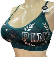 Victorias Secret PINK ULTIMATE Lightly Lined Racerback Sports Bra Large Green