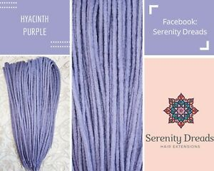 Serenity Dreads- 10 Hyacinth purple Wool Dreads Dreadlocks Double Ended Medium