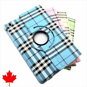 360 Folding High Quality Plaid Case Skin Cover for iPad Mini 1 2 3 4 Gen 7.9""