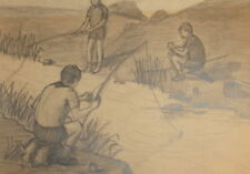 Vintage pencil drawing fishing childs portrait