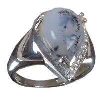 Solid 925 Sterling Silver Ring Natural Dendritic Agate US Size 7 JSR-213
