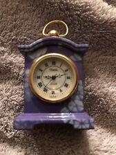 Miniature Xanadu Quartz Purple White Flowers Antique Mantle Vintage Clock EUC