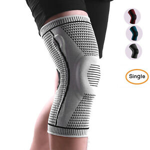 Men Knee Brace Compression Sleeve with Patella Gel Pads Side Stabilizers Support