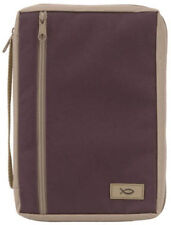 Canvas Bible Cover  - Large - Berry/Tan