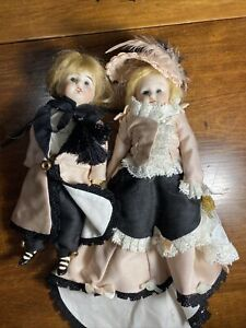 Antique Bisque Head MIGNONETTE DOLL, PAIR 8""