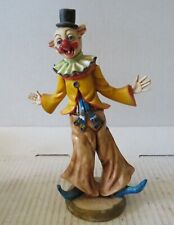 "VINTAGE RESIN HAPPY CLOWN 8"" TALL ITALY"