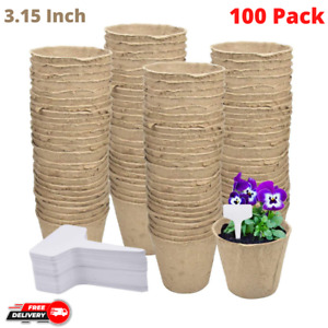 100 Pack Biodegradable Peat Pots 3.15 Inch Transplant Paper Pulp Seeding Cups