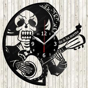 Day of the Dead Vinyl Record Wall Clock Decor Handmade 1095