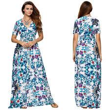 Plus Size 8-24 Women Long Maxi Party Dress Ladies Boho Summer Beach Floral Dress
