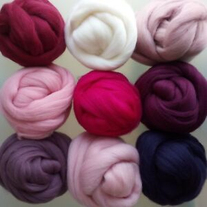 Orchid Family* 100% Pure Merino Wool for Felting, Roving Wool Tops 10 - 200 g