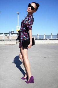 ALANNAH HILL Black Floral Caped Cold Shoulder Silk Playsuit s 10