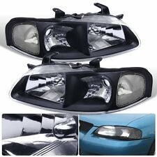 For 2000-2003 Nissan Sentra Black Clear Headlight Driving Lamp Pair LH RH Unit