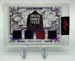 """2021 Leaf Ultimate Sports MIKE TYSON Quad Relics 3/7 Sports Icons """"Iron Mike"""""""