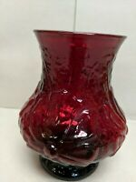 Vintage Ruby Red Depression Glassware, 5 1/2'' Tall Flower Vase
