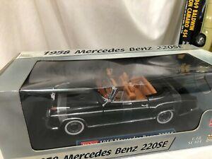 1/18 SCALE MODEL SUN STAR 1958 Mercedes Benz 220SE convertible black
