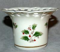 Candle Holder VOTIVE Christmas Porcelain ROYAL LIMITED JAPAN Holly USA SELLER