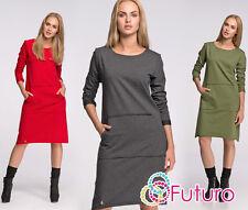 Ladies Plain Dress With Pockets Long Sleeve Everyday Tunic Plus Sizes 8-18 FA466