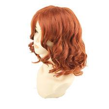 New Charming Fashion Lady Short Wavy Curly Hair Orange Wig Anime Cosplay Costume