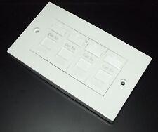 Cat5e RJ45 Quad Face Plate (4 way data socket) Fits Standard UK Double Backboxes