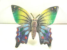 Colorful Vintage Butterfly Pin with Granular Sugar Like Coating Finish