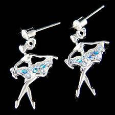 w Swarovski Crystal ~Blue BALLERINA~ The Nutcracker Ballet Dancer Dance Earrings